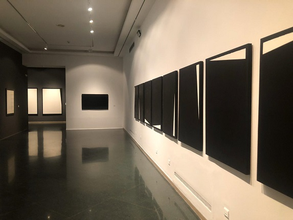 "Installation view of the exhibition ""Elena Asins. Science as Art's Tool""at Sala Vimcorsa in Córdoba, Spain (2019)."