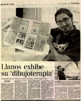 "Article on Fernando Llanos in the newspaper Provincia entitled ""Llanos exhibits his 'drawing therapy'"" in September 2006."