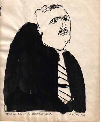 Portrait of José Lezama Lima in Chinese ink on paper , 1968. 30 x 21 cm