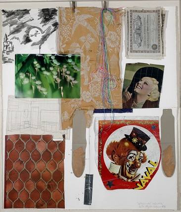 """Elogio del calcetín"", 2004. Collage of objects on paper. 115 x 105 cm."