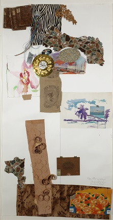 """About other summers"", 2006.  Watercolor and collage of objects on paper. 200 x 110 cm."