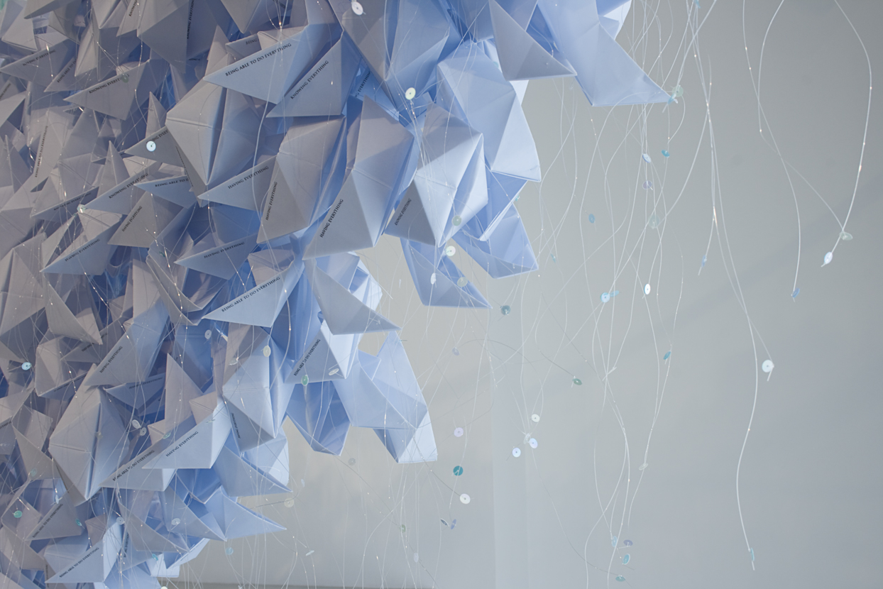 Are horizons, and horizons are at an infinite distance, 2014. Blue paper boats. Installation that arises from a quote from the essay The Inhuman, by J. F. Lyotard, reproduced in salt on the floor. Variable measures