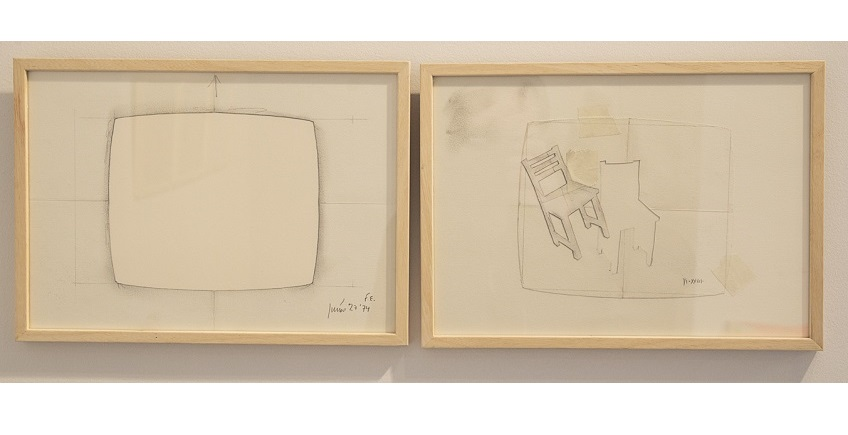 """Reflections"", 1974. Series of 7 pencil drawings, using templates, on Canson (additionally, two templates are included). 21 x 29.8 cm each."