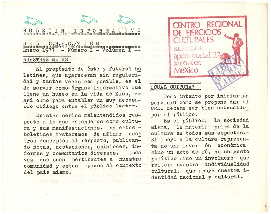 C.R.E.C. Newsletter (Centro Regional de Ejercicios Culturales) / XICO Number I - Volume I, 1977. Printed on paper. Page folded in half of 34 x 21, 5.