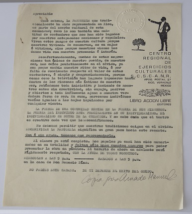 Announcement of the representation of the PASTORELA, C.R.E.C; S.C.S.C.A.N.R., of Xico Printing on paper. 27,8 x 21,4 cm.