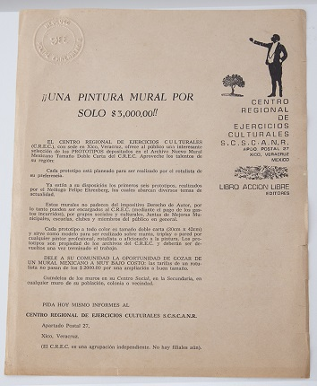 "Announcement of ""A Mural Painting"". C.R.E.C.; S.C.S.C.A.N.R., by Xico. Printing on paper. 28,1 x 21,3 cm."