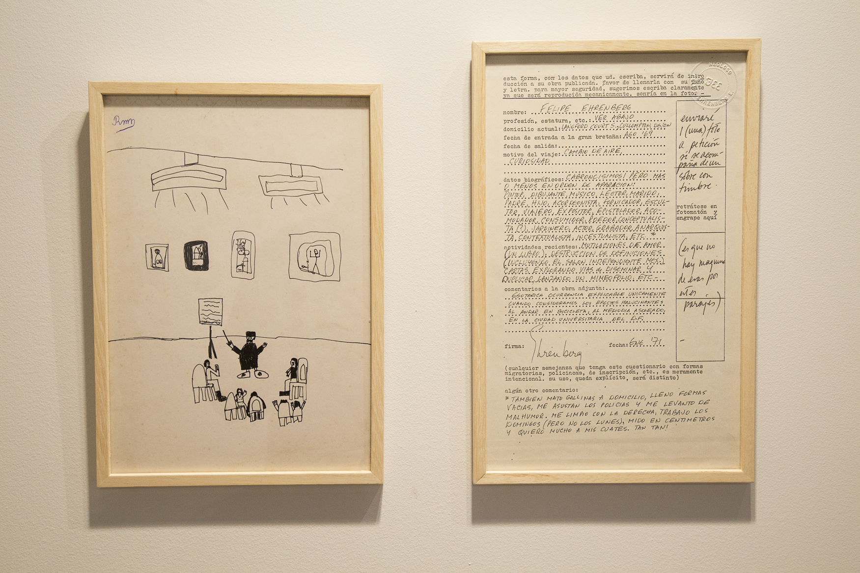 """Form"". 1971. ""Child's drawing"". 1992. Diptych: Printing photocopy on paper and original ink writing. 33 x 20.5 cm. Anonymous original drawing, signed R.M. , pen on paper. 29 x 20.5 cm"
