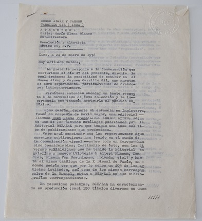 """Letter to Maria Elena Blanco, Alvar and Carmen Carrillo Gil Museum."" January 24th, 1978. Original duplicate of typewritten letter on silk paper. 3 stapled pages, 28 x 21.5 cm."