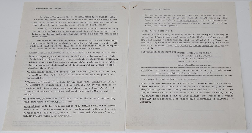 """America on target."" Dates near and prior to July 1978. Typewritten copy on paper with calligraphic note. 3 pages stapled 28 x 21.5 cm."