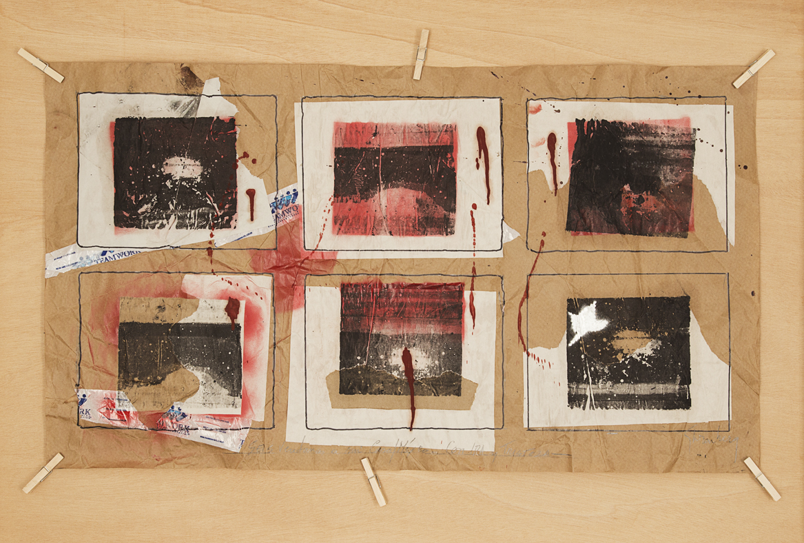"""Six Windows to My Home/Mexico - with Anger and Sadness,"" 2014. Mimeographical ink applied by roller or dissolved in thinner, drops of blood (from the author), acrylic spray, Sharpie ink, pencil, plastic tape on Revolution and Kraft papers made in Brazil. 56 x 98 cm."