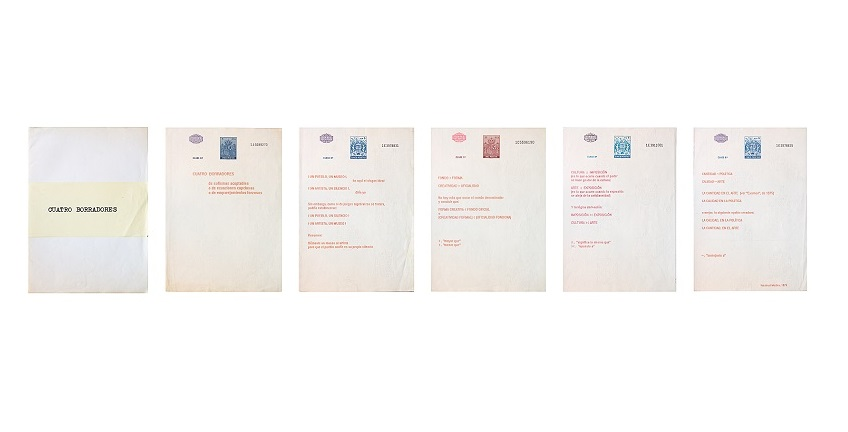 "Isidoro Valcárcel Medina, ""Four drafts "", 1979. Typewritten original printed on stamped paper. Five sheets of 30 x 21 cm."