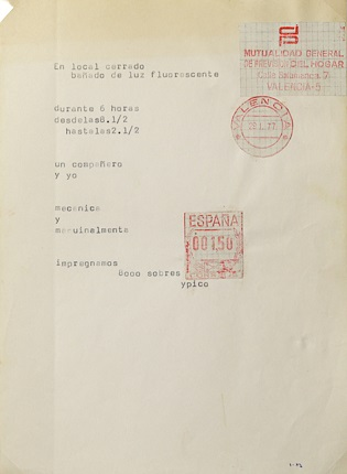 """En local cerrado..."", original model of POETIC TEXT, 1989. Collage, stamps and typewriter on paper page. 21,5 x 16,7 cm."