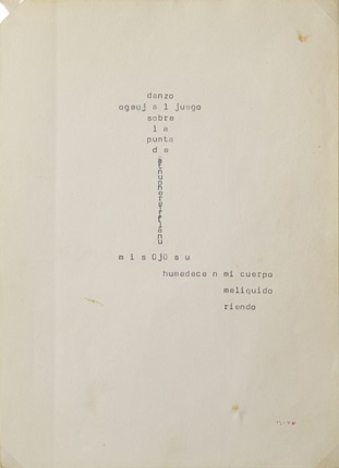 """Danzo..."", original model of POETIC TEXT, 1989. Typewriter on a paper page. 21,5 x 16,7 cm."