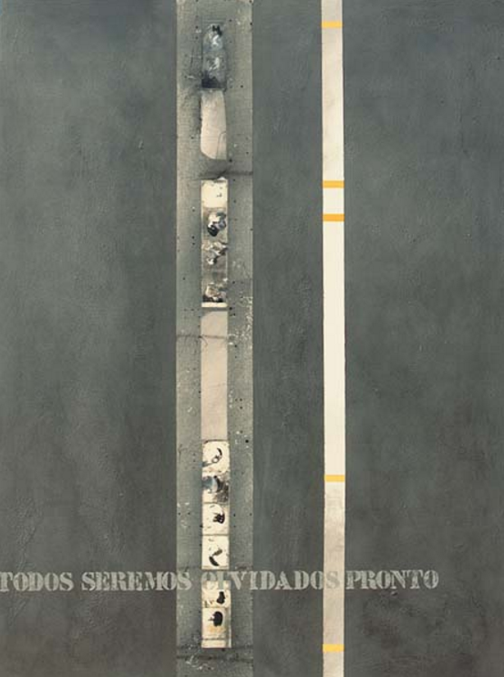 "Enrique Brinkmann, ""Funerary stele with vignettes"", 2005. Mixed technique, collage on Arches paper, glued to plywood. 159 cm x 119 cm."