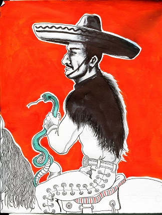 """Charro en fondo rojo"". Matria Series. 2015. Ink on paper. 11.2 x 8.7 in."