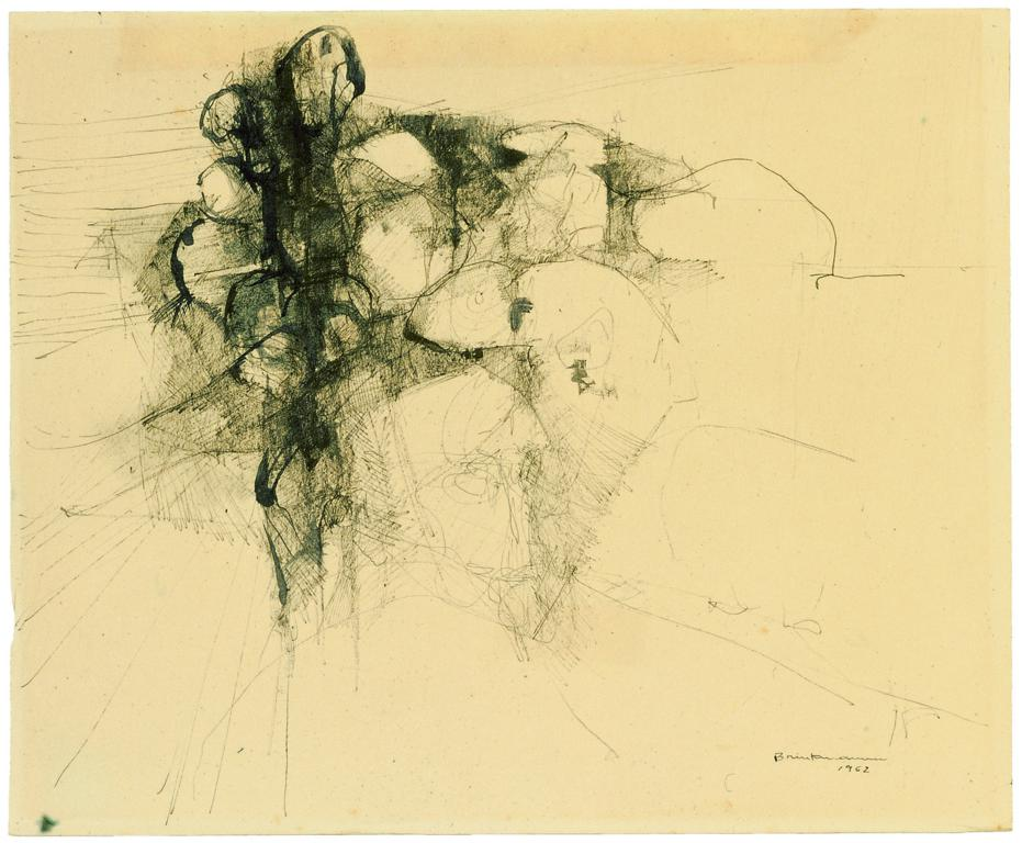 """Figure with group of people"", 1962. Chinese ink on paper, 38 x 46 cm"