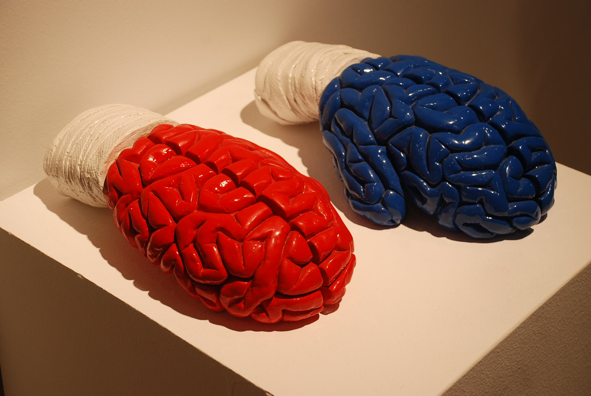 """Mind games,"" 2003. Resin with PGJ paint and marble dust. Edition 2/8. 11 x 31 x 17 cm. each piece"