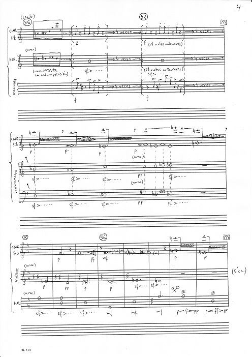 Cristal II. Music Sheet. 2 pages 31,5 x 43 cm. and 3 pages 31,5 x 21,5 cm.