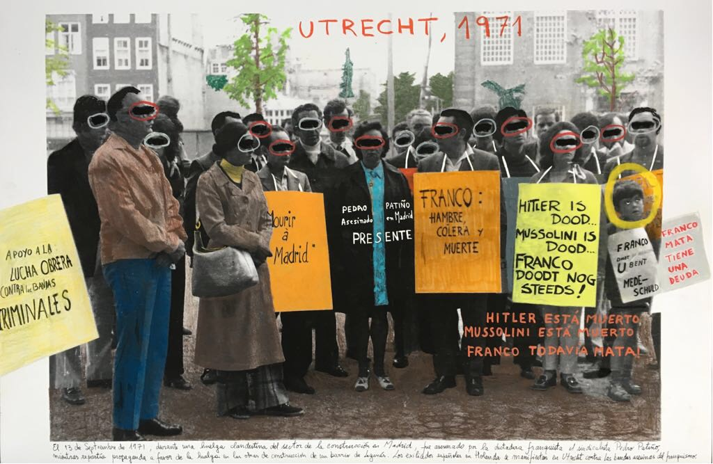 Utrecht, (1971). 2018. Intervened photograph (Work history archive. 1st May Foundation), 60 x 90 cm. Unique piece