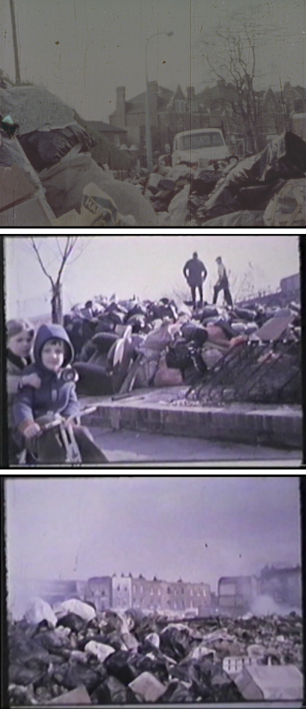 "F. Ehrenberg. ""La Poubelle, or it's a sort of disease II"", 1970. Film. Duración: 16' 48''  Ed. de 10.  En la imagen: fotogramas del vídeo"