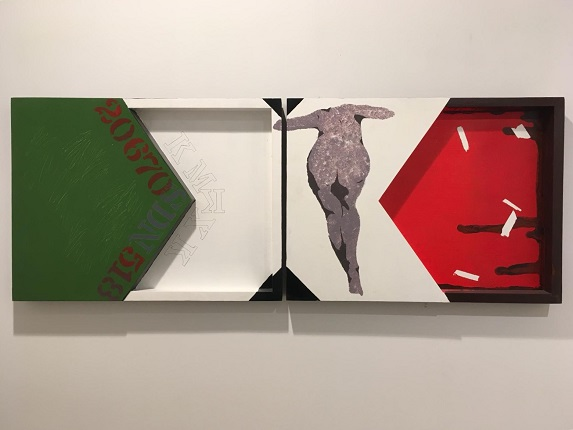 "F. Ehrenberg. ""Mexico is spelled with an X."" Diptych. Acrylic on wood. 43 x 60,3 cm each."