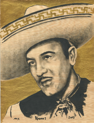 "F. Llanos. ""Pedro with Soástica"", 2015. Matria Series. Gold leaf and oil on wood. 28 x 21,4 cm."