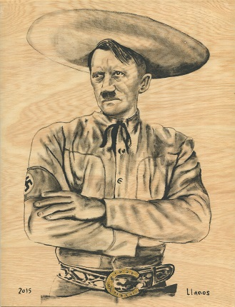"F. Llanos. ""Adolfo dressed as a charro"". Mexico, 2015. Matria Series. Mica of gold and oil on wood. 28 x 21.4 cm. Unique piece."