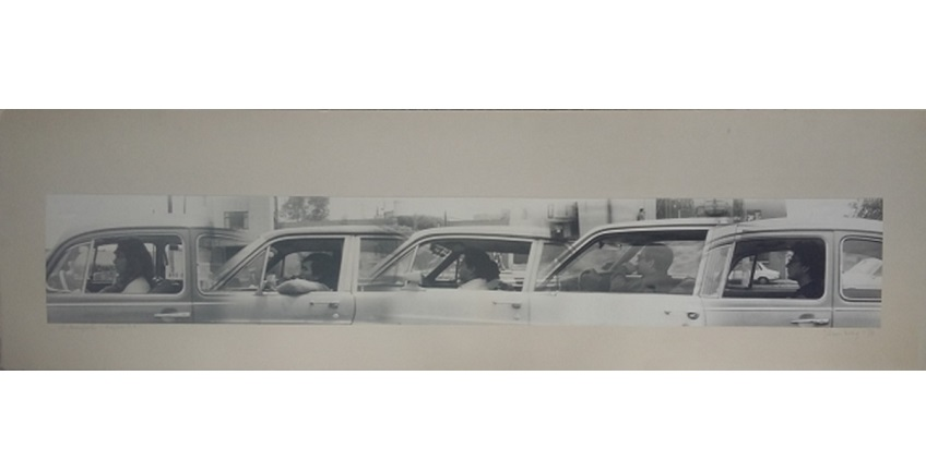 "F. Ehrenberg. ""Automopolis"", 1978. Black and white photograph mounted on cardboard. 32,3 x 112 cm."