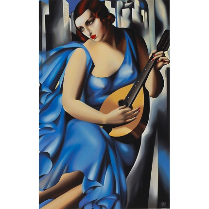 """Femme Bleu a la Guitare o Le Musicienne"", 1929. Year of creation of the serigraphy: 1991. 112,3 x 73,5 cm."