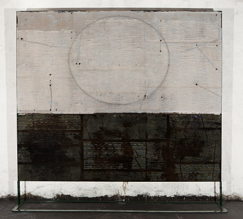 """Archive of ellipse and black texts"", 2019. Oil and pigment on plywood, 232 x 244 cm."
