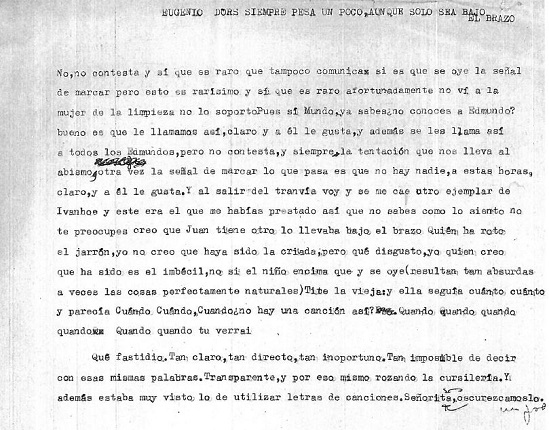 """Eugenio d'Ors always weighs a little, even if only under the arm."" Original document."