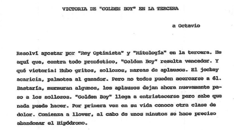 """Golden Boy's victory in the third."" Original document."
