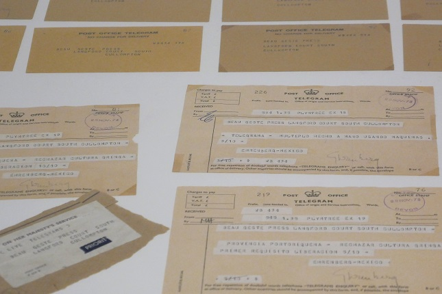 "Felipe Ehrenberg, ""Telegrams to the San Juan Biennial"", 1973. Third San Juan Biennial of Latin American Engraving (1974). Institute of Puerto Rican Culture, San Juan, Puerto Rico. 12 envelopes and 9 telegrams. Edition 2/2."