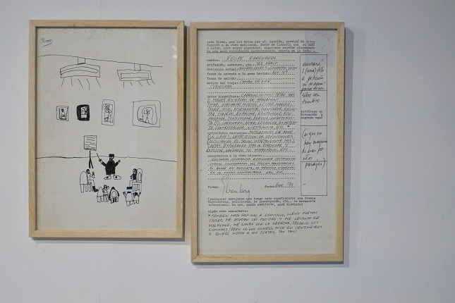 "Felipe Ehrenberg, Self-portrait: ""Dibujo infantil"", 1992 and ""Forma"", 1971 Diptych: original anonymous drawing, signed by a child R.M., made with pen on paper (29 x 20.5 cm) and a photocopy of the print on paper and original ink writing (33 x 20.5 cm)."
