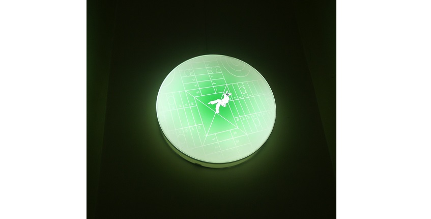 "José Iges & Concha Jerez. ""THE FUNAMBULIST ARTIST. LIGHT BOX 4"", 2002. Digital photographic support mounted on a light box. 80 x 80 x 12 cm."