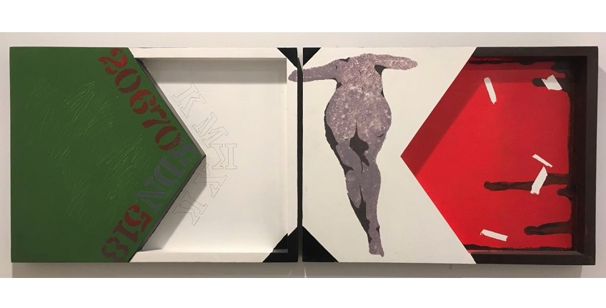 "Felipe Ehrenberg. ""S/T (Mexico is written with X)"", 1968-2015. Diptych. Acrylic on wood. 43 x 60.3 cm each."