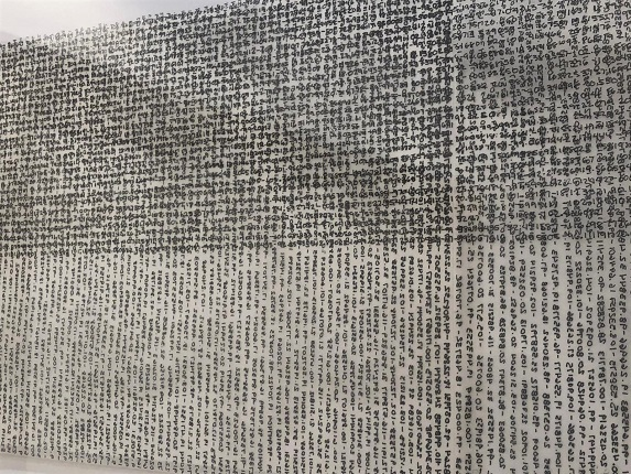 "Detail of ""Names and Coordinates"", México (2017-2019), 2020. Ink on paper. 21,5 x 84 cm."