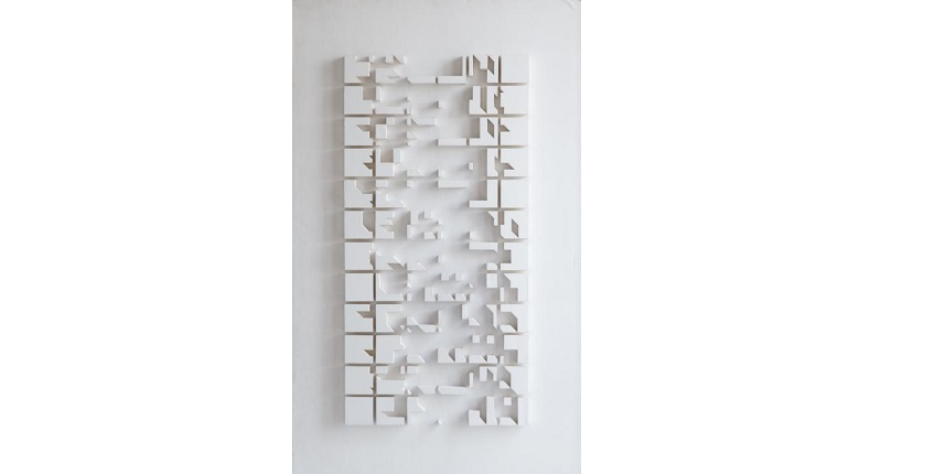 Elena Asins. Model. From the Scale Series. Project for a city. Ca. 1982-83. White cardboard and foam board. 139,3 x 84,2 x 3,6 cm.