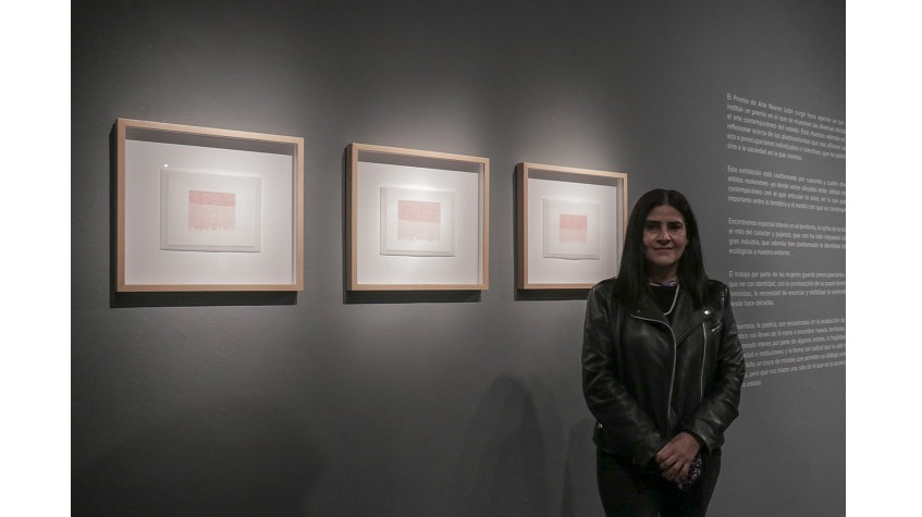 "Gina Arizpe besides her awarded work, from the series ""Nombres y Coordenadas (Names and Coordinates)"", 2020. Ink on paper."