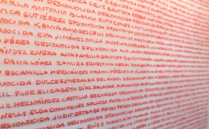 "Detail of Gina Arizpe's series, ""Names and Coordinates"", 2020. Ink on paper."